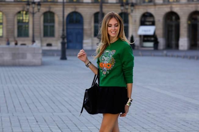 Chiara-Ferragni-kenzo-green-sweatshirt