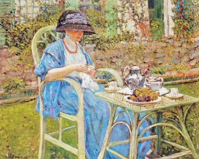 g8 1911c Frederick Frieseke (American artist, 1874-1939) Breakfast in the Garden.jpg